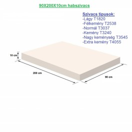 90X200X10cm habszivacs